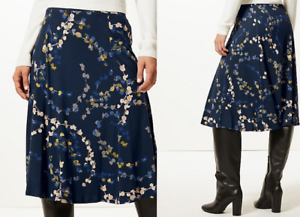 bdea41ef984a M&S COLLECTION Classic Printed Jersey A-Line Midi Skirt | eBay