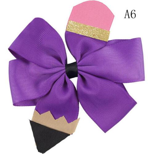 "5/"" Pencil Print Hair Bows Barrettes Glitter Handmade Hairclips IJ"