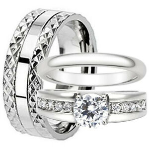 His and Hers Wedding Bands Titanium Stainless Steel 3 Piece Engagement Ring Set