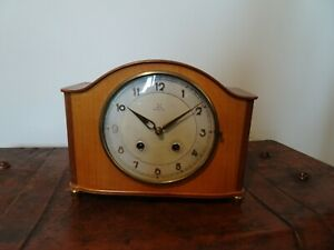 Vintage-HAC-Oak-Mantel-Clock-with-8-Day-Mechanism-amp-Acoustic-Ting-Tang-Chime