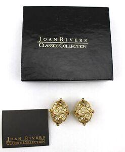 JOAN-RIVERS-Gold-Faux-Pearl-Floral-Flower-Rhinestone-Egg-Oval-Clip-On-Earrings