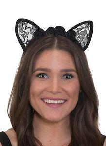 Kitty Cat Ears Headband Black Cosplay Costume Lace Tiara Party Halloween Concert