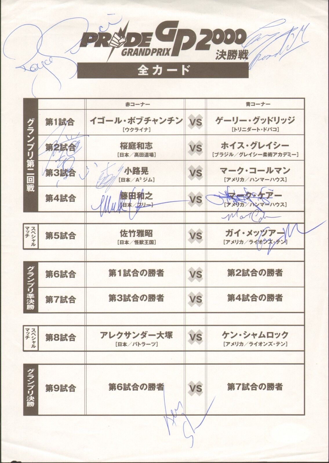 Kazushi Sakuraba Royce Gracie + 7 Firmado Pride 2000 Gp Final rougeondo Insertar