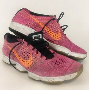 sports shoes hot sale online online shop Details about Nike Flyknit Zoom Pink Orange Womens Size 8 Zoom Sole A  Condition