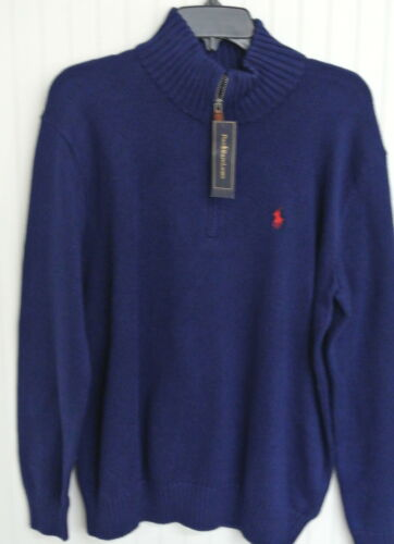 e Sweater Logo Pony zip in Ralph con cerniera Lauren navy Polo cotone rossa Blu EHzRwxq