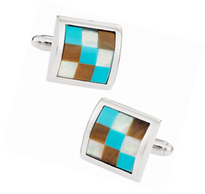 Turquoise-Mother-of-Pearl-amp-Tiger-039-s-Eye-Silver-Cufflinks-by-Cuff-Daddy