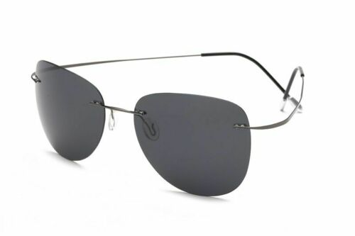 Men/'s Titanium Polarized Rimless Sunglasses Anti-Reflective UV400 Light Eyewear