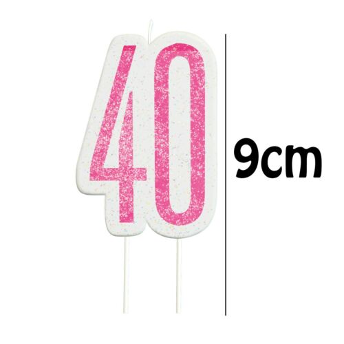 Unique Girls Womens Birthday Party Cake Pink Glitter Candle 9cm High Age 40