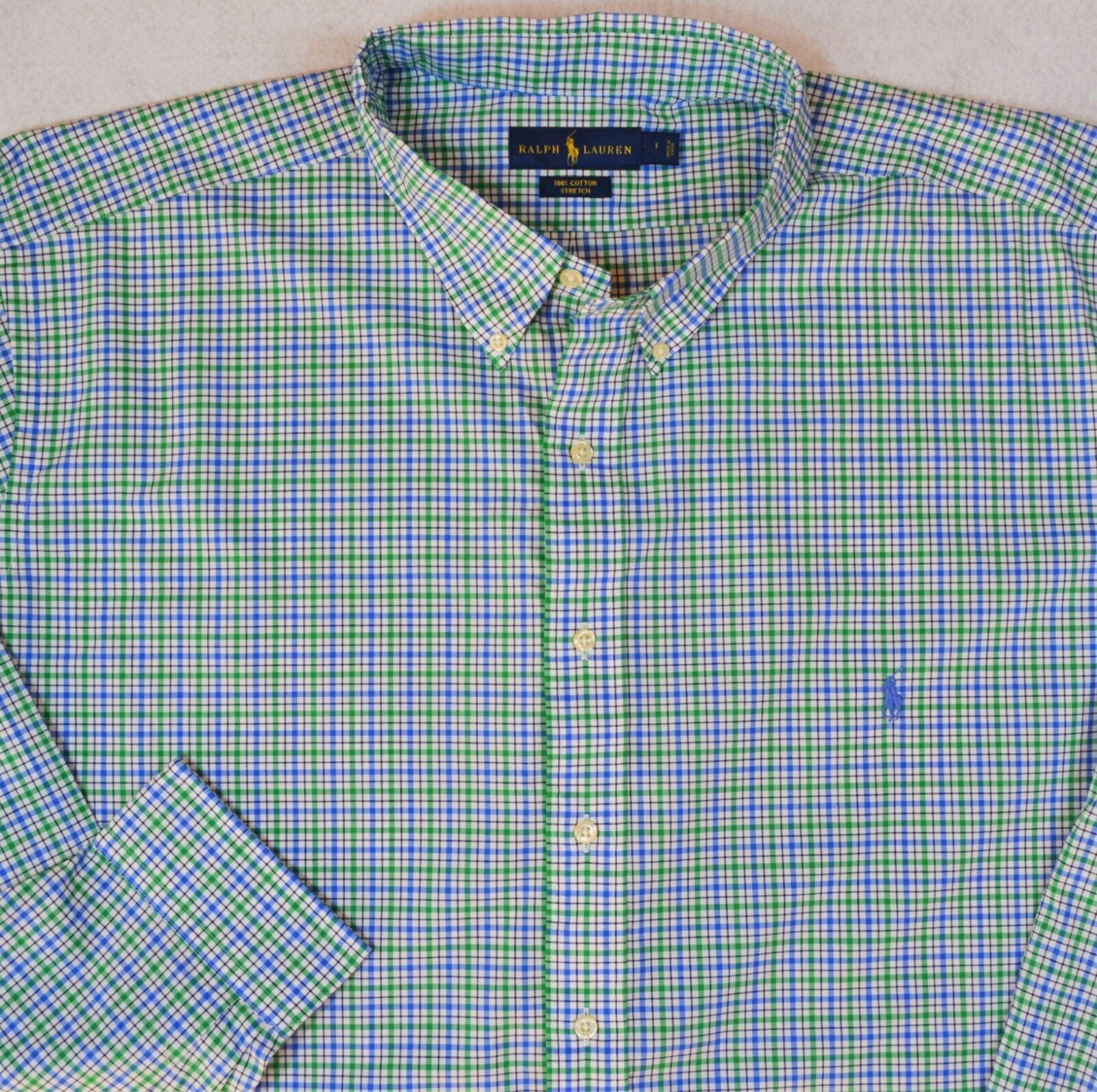 Ralph Lauren Plaid Stretch Button-Front Long Sleeves Shirt Sizes 2XLT 3XB NWT