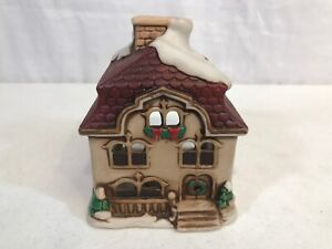 Vintage-Lefton-Ceramic-Christmas-House-Votive-Candle-Holder-1986
