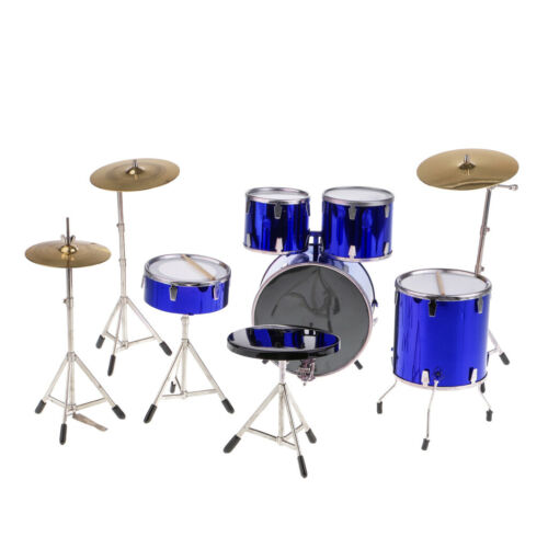 1//6 Miniature Drum Kit Drum Set Replica Model Hobby Collection Gifts Blue