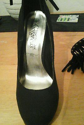 New Look Tobillo Tacón Alto Zapatos de flecos, tamaño 3