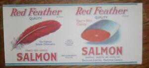 Red-Feather-Salmon-Label-Balfours-Hamilton-Ontario-Canada-15-1-2-Oz