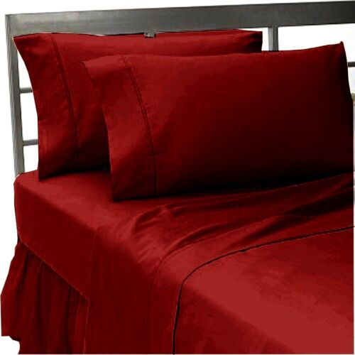 """Luxurious Bedding Set All Size Burgundy Solid 600 TC Pure Cotton 15/"""" Deep"""