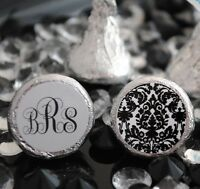 216 Personalized Monogram And Damask Hershey Kiss Labels Stickers Favors