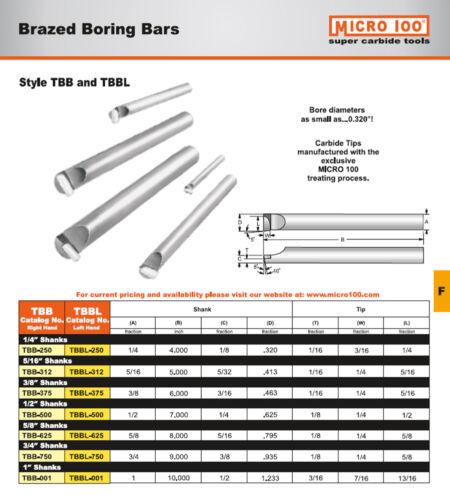 "5//16/"" Shank x 5/"" Long RH Boring Bar w//Brazed Carbide Tip Micro-100 USA #TBB-312"
