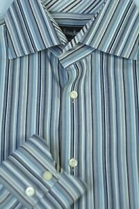 Neiman-Marcus-Men-039-s-Gray-White-Stripe-Cotton-Casual-Shirt-M-Medium