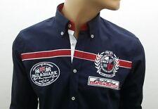 New Men's hemd navyblau mit rotem Streifen Paul Shark Langarm SLIM FIT size :L
