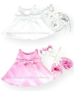 Teddy Bear Clothes fits Build a Bear - Satin Shoes (FREE FAULTY Dress/Bows Inc.)