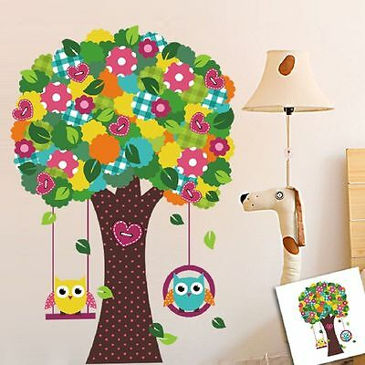 Colourful Giant Owls Swing Flower&Tree Wall Stickers Baby Child Girls Room Decor