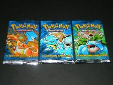 Lot of 3 Pokemon Base Set Booster Packs - ALL 3 TYPES - OPENED / MINT Condition