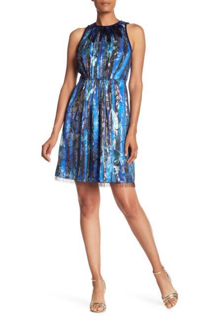 9e2f71621e8a NWT- ELIE TAHARI Demetria Embellished Metallic Floral-Print Silk-Blend Dress-  4