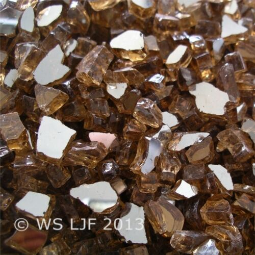 "4 LBS 1//4/"" Copper Reflective Fireglass Fire Pit Rocks Fireplace Glass Crystals"