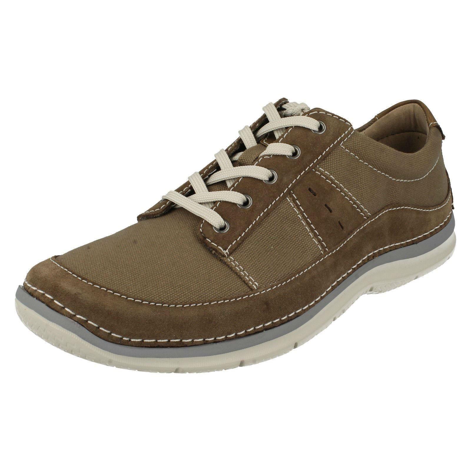 Clarks Ripton Plain Mens Olive Canvas Lace Up Shoes G Fit UK6-12 (R29A)