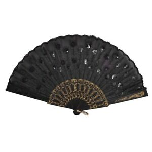 1X-Black-Plastic-Frame-Embroidery-Floral-Detail-Folding-Hand-Fan-F1R1