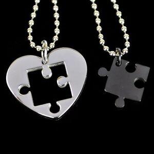 Collana-per-Coppia-Cuore-Puzzle-Acciaio-Inox-2-Ciondolo-Nero-2-Catena-di-Sfere