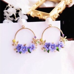 Korean-Women-Crystal-Tassel-Heart-Pearl-Ear-Stud-Dangle-Drop-Earrings-Jewelry