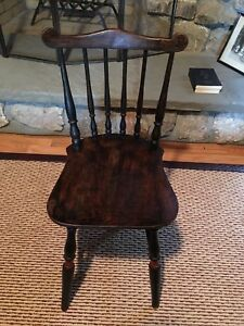 Open-Minded Antique Dark Wood Child Chair Spindle Back C1900 With Original Red Trim On Legs 2019 Latest Style Online Sale 50% Chairs