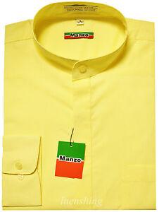 New-men-039-s-shirt-dress-formal-banded-nehru-collar-long-sleeve-prom-wedding-yellow