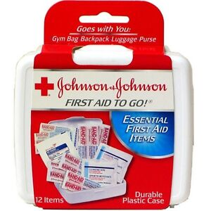 12 Packs of First Aid Kit Travel Size Johnson & Johnson Essential Items 12 pcs
