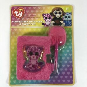 5bd27fc39b2 Cute TY Beanie Boos Plush Diary with Lock and Fuzzy Pen Girls ...
