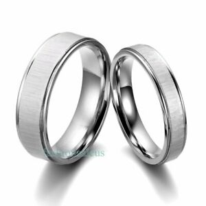 Stainless-Steel-Comfort-Fit-Men-039-s-Women-039-s-Couples-Rings-Wedding-Band-Silver-tone
