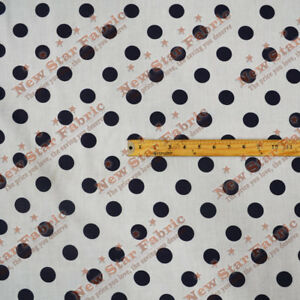 Polka-Dot-Poly-Cotton-1-inch-Fabric-58-inches-width-sold-by-yard-Black-White