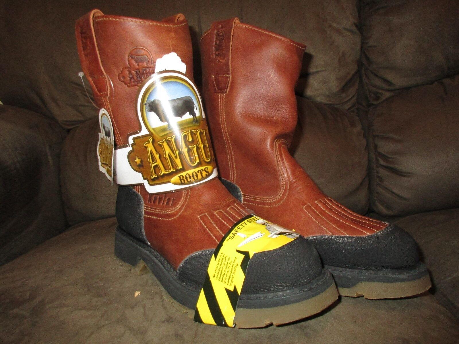Angus Para hombre botas De Trabajo Con Puntera De Acero De Seguridad Marrón Negro