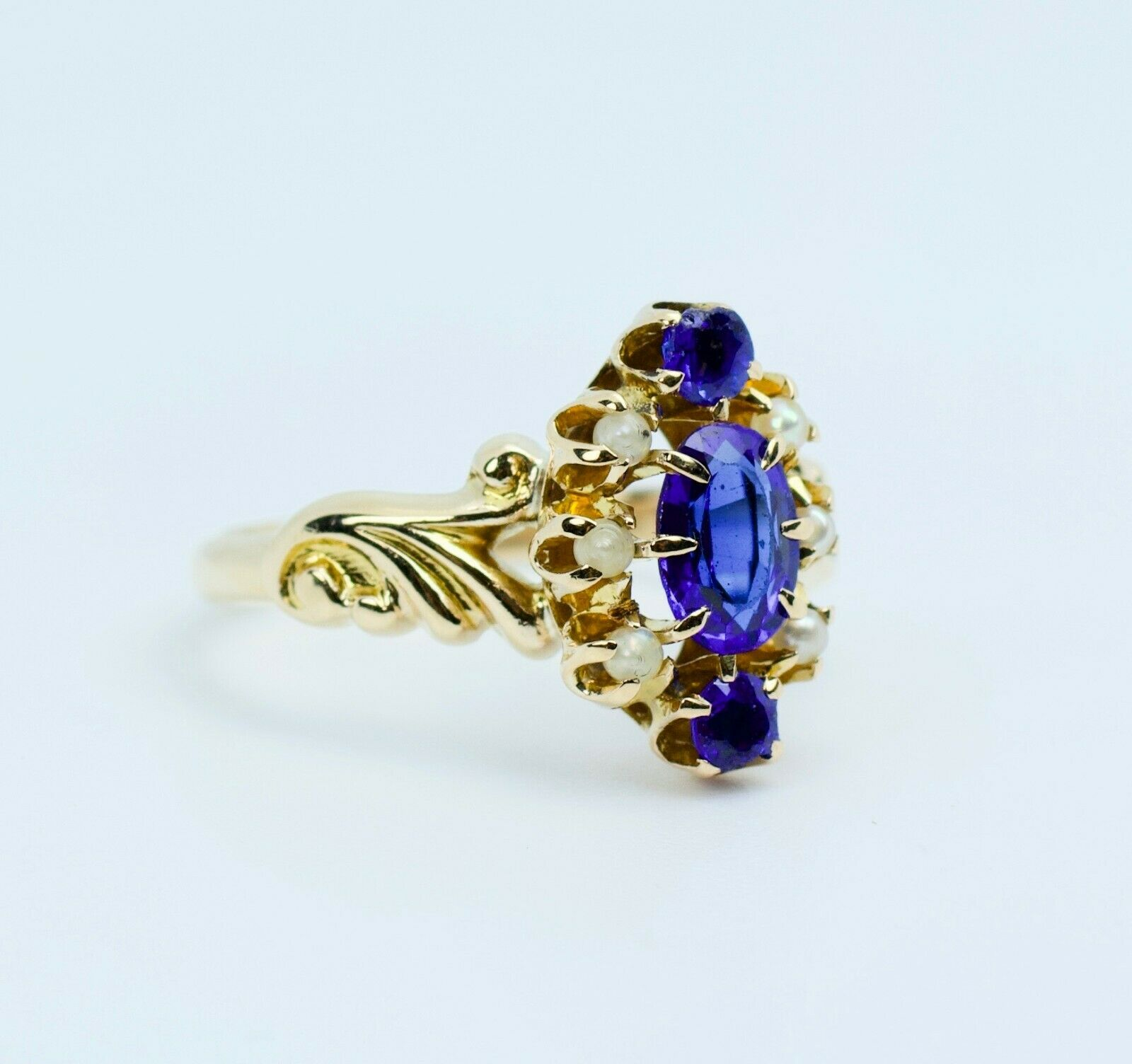 Vintage 14k Yellow Gold Oval Blue Synthetic Sapph… - image 4