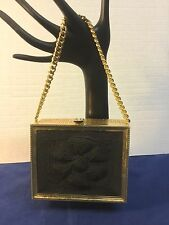 EUC VINTAGE GOLD METAL BOX FILIGREE CLUTCH HANDBAG PURSE Heavy Chain Handle