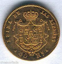 Isabel II 40 Reali 1864 Madrid Oro @ Bella @
