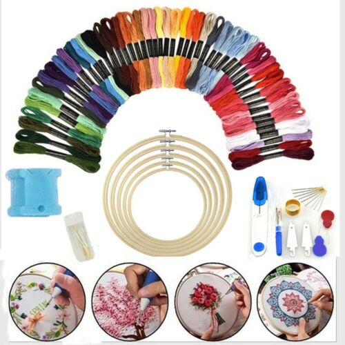 50 Colorful Embroidery Thread Beginner Kit Fabric-Set Cross Stitch Craft Tools