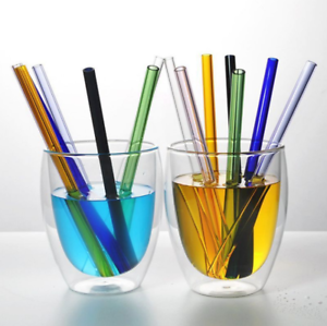 8mm Reusable Straight Pyrex Glass Drinking Straw for Wedding Birthday Party