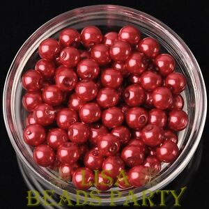 New-144pcs-8mm-Round-Czech-Glass-Pearl-Loose-Spacer-Beads-Red