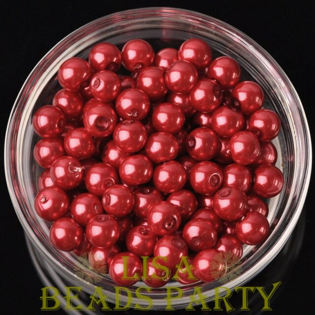 New 144pcs 8mm Round Czech Glass Pearl Loose Spacer Beads Red
