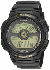Casio AE1100W-1B Mens 100M Lcd World Time Sports Watch 10 Year Battery Dual Time