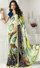 Stylist Multi Color Printed Chiffon Saree with a Blouse D.No SBT1241