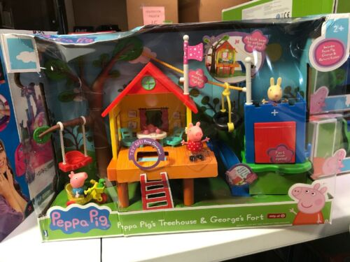 Nick Jr. Peppa Pigs Treehouse E Georges Fort Playset Caixa Danificada