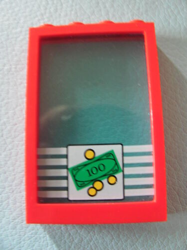LEGO 2493 @@ Window 1 x 4 x 5 with Trans-Clear Glass Sticker @@ RED @@ ROUGE