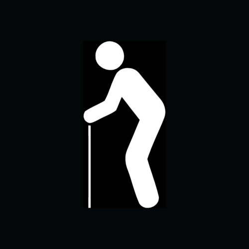 OLD MAN WITH CANE Icon Sticker Car Truck Window Walker Disabled Retire Slow Cute
